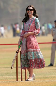 Pin for Later: This Girl Jumps Through Hoops Just to Copy Kate Middleton's Outfits Kate Middleton Wearing an Anita Dongre dress and Mint Velvet wedges.