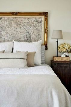 Paris Map as headboard! Gorgeous bedroom with vintage map in gold ornate frame headboard, . Home Bedroom, Bedroom Wall, Bedroom Decor, Master Bedroom, Bed Room, Bedroom Ideas, Bedroom Inspiration, Bedroom Designs, Bedroom Layouts