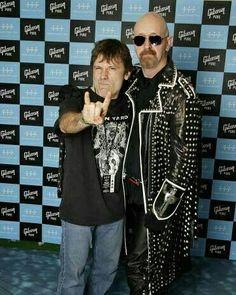 Bruce Dickinson (Iron Maiden) and Rob Halford (Judas Priest) posing together. . . . . #ironmaiden #judaspriest #brucedickinson #robhalford #classy #gentleman #music #metal #metalmusic #heavymetal #legend #legendary #band