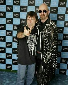 Bruce Dickinson (Iron Maiden) and Rob Halford (Judas Priest) posing together. . . . . #ironmaiden #judaspriest #brucedickinson #robhalford #classy #gentleman #music #metal #metalmusic #heavymetal #legend #legendary #band