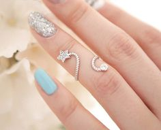 Korean Style Vogue Luxury Crystal Sweet Lovely Star Spiral Finger Ring,Silver