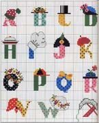 Schema punto croce alfabeto cappellini 1