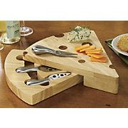 Swill Cheese Cutting Board  w/ Knives & Cheese Fork