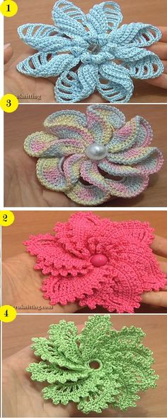 4 Spiral Flower Tutorials – Which one do you like the most? - Design Peak 4 Spiral Flowers Tutorials - Which one do you like the most? Flower Motif, Crochet Puff Flower, Crochet Flower Tutorial, Knitted Flowers, Crochet Flower Patterns, Love Crochet, Irish Crochet, Crochet Designs, Fabric Flowers