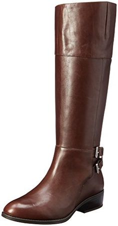 Womens Mariah Leather Almond Toe Mid-Calf Riding Boots