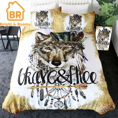 Tribal Wolf Bedding Set limited edition custom product created by Bright & Roomy. Duvet Bedding Sets, Linen Bedding, Custom Bedding, Comforters, Blanket Cover, Quilt Cover, Bed Covers, Duvet Cover Sets, Pillow Covers