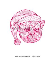 Mandala style illustration of a head of a cat wearing Santa Claus hat viewed from front on isolated background. Santa Claus Hat, Stationery Paper, Halloween Art, Christmas Cards, Christmas Holiday, Photo Cards, Holiday Gifts, Personalized Gifts, Mandala