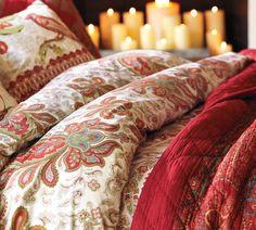 Pottery Barn - Charlie Paisley Organic Duvet Cover & Sham - Red. Holiday Bedding