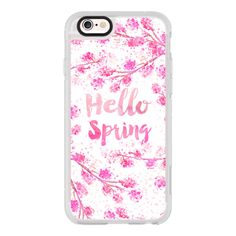 iPhone 6 Plus/6/5/5s/5c Case - Modern hello spring typography pink... (1,830 DOP) ❤ liked on Polyvore featuring accessories, tech accessories, iphone case, iphone cases, pink iphone case, iphone cover case, iphone hard case and apple iphone cases