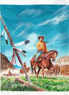 Arte original da capa do Color Tex nº 9, La pista dei Sioux