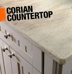 Corian is a solid surface countertop material made from acrylic polymer. It's a great countertop option if you're tackling a kitchen renovation because it resists stains, scratches, sunlight and heat, and it also comes in more than 130 colors! Kitchen Redo, New Kitchen, Kitchen Remodel, Kitchen Dining, Kitchen Ideas, Corian Countertops, Marble Benchtop, Kitchen Upgrades, Countertop Materials