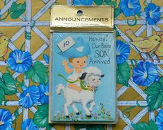 Vintage 60s Cowboy Baby Announcements by TheGreenClock on Etsy
