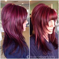 #redhair #magentahair #highlights....love the cut