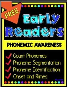 FREE Phonemic awareness: phonemic awareness lessons segmentation, onset, rimes, and count phonemes for early readers.Phonemic awareness activities for small group, literacy centers, homework, and seatwork.