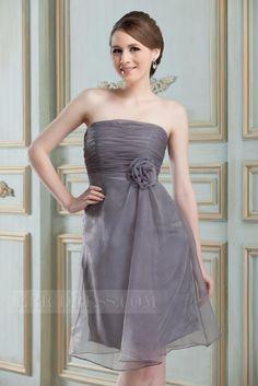 Amazing Flowers Pleats A-Line Strapless Knee-Lnegth Ruslania.F's Bridesmaid Dress