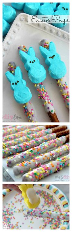 Peeps fans, youll love these special Easter Peeps Pretzel Rods, decorated in colorful sprinkles and dipped in white chocolate! Fun non-candy Easter treat recipes ideas! Easter Snacks, Easter Peeps, Easter Candy, Hoppy Easter, Easter Treats, Easter Recipes, Peeps Recipes, Easter Food, Pretzel Recipes