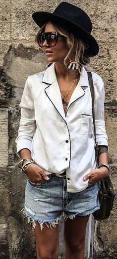 #fall #trending #outfits | Pajama Silk Top + Cut Offs