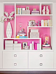 Go Bright  Grab a quart of paint in a color you'd never dream of putting on your walls and paint just the back of a bookcase. The pop of color will do wonders for any room.