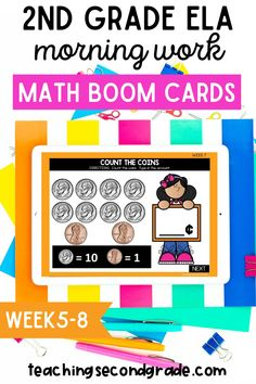 Looking for fun and engaging morning work for your second grade students that can be used in the classroom or from home while distance learning? These math boom cards for first or second grade students are exactly what you need. Self-checking boom cards cuts out all of the grading time and gives your students instant feedback. An added bonus, they are fun! Your elementary students will actually enjoy learning! #secondgrademath #mathboomcards #mathactivities #elementarymath #distancelearning 2nd Grade Ela, Teaching Second Grade, Second Grade Teacher, Addition And Subtraction Worksheets, 2nd Grade Math Worksheets, Primary Maths Games, Kindergarten Activities, Hands On Activities, Fun Activities