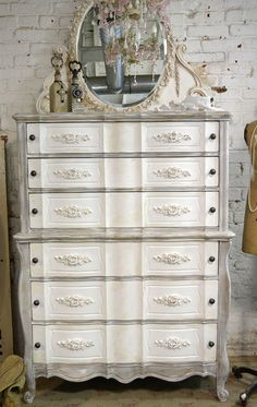 Painted Cottage Chic Shabby Grey and Tea-stain French Dresser CH602 on Etsy, $595.00