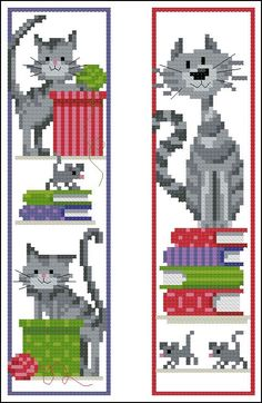 quelques marques pages Cat Cross Stitches, Cross Stitch Bookmarks, Cross Stitch Books, Mini Cross Stitch, Cross Stitch Needles, Beaded Cross Stitch, Cross Stitch Charts, Cross Stitch Designs, Cross Stitching