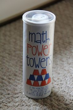 Power Tower: writing simple addition problems on the bottoms of Dixie cups + write the answers inside. stack towers while solving them - such a great idea!