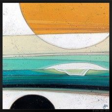"""Horizon 3"" © Erik Abel 2015  18"" x 18"" Acrylic, marker, colored pencil on wood…"