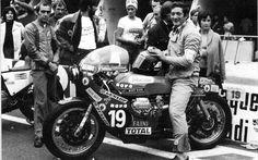 Bruno Scola sitting on Charles Krajka's Moto Guzzi Bol D'Or 1975