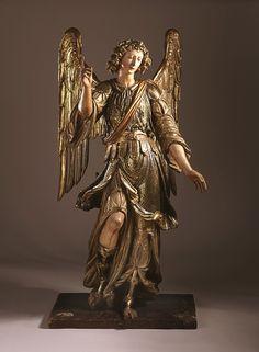 Archange Raphaël | LACMA collections; Italie, Naples, vers 1600 Sculpture Bois polychrome et doré Taille: 70 pouces (177,8 cm)
