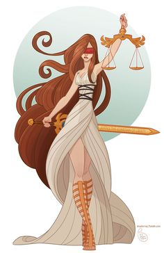 """Themis /ˈθiːmᵻs/ (Greek: Θέμις) is an ancient Greek Titaness. She is described as """"of good counsel"""", and is the personification of divine order, law, natural law and custom. Themis means """"divine law"""" rather than human ordinance, literally """"that which is put in place"""", from the Greek verb títhēmi (τίθημι), meaning """"to put"""". Her Roman name is Justitia. 