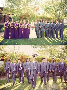 purple and grey wedding party. Amazing bouquets. www.gideonphoto.com/blog