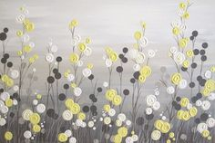 """Large Yellow and Grey Flower Field, Textured Acrylic Painting on Canvas, 20x30"""" READY TO SHIP"""