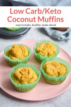 The most amazing low carb coconut muffins made with eggs, coconut oil, and coconut flour. Keto friendly, easy to make, and delicious. #breakfast #snack #kidfriendly #makeahead Good Healthy Recipes, Skinny Recipes, Healthy Breakfast Recipes, Low Carb Recipes, Healthy Snacks, Diabetic Breakfast, Healthy Eats, Free Recipes, Vegetarian Recipes