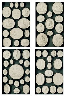 Intaglio Medallions like these...to be placed in groupings around my living room fireplace!...Two sets of Italian cased plaster intaglio impressions, First half 19th Century... From... http://www.christies.com/lotfinder/lot/a-set-of-nine-italian-cased-painted-5336348-details.aspx?pos=2=5336348==25