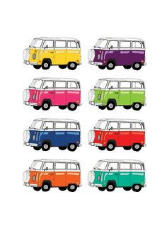 Red Parka Designs - Kombi x 8. A4 size print from original Red Parka Designs illustration. • See more at The Big Design Market on 7/8/9 December 2012 at the Royal Exhibition Building, Melbourne.  www.thebigdesignmarket.com