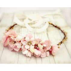 Pink Roses Floral Crown. Bridal Accessories. Bohemian. Pink and Yellow. Woodland. Rustic. Spring, Flower Crown, Bridal, Hair Accessories (€34) found on Polyvore
