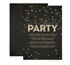 Glitter Look New Year's Eve Party Invitation - DIY Printable or Printed Invitation Options