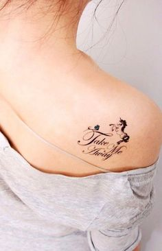 A small and pretty unicorn tattoo on the shoulder. The unicorn is drawn comparatively small against the quote, however it works really well since the tattoo can be subtle and hidden when needed.