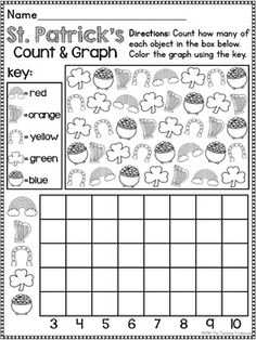 This no prep, print & go packet contains St. Patrick's Day themed alphabet practice, rhyming, syllables, reading comprehension, patterns, numbers 1-20, counting, adding, subtracting, shapes, and more! 60 ready to use, no prep math and literacy printables in ink saving black and white. Aligned to Kindergarten Common Core standards-can also be used as a review pack for first grade. $