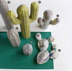 Un tuto simple pour réaliser des cactus en papier mâché avec une base de carton. Une idée originale pour décorer votre intérieur et un DIY très simple !                                                                                                                                                                                 More
