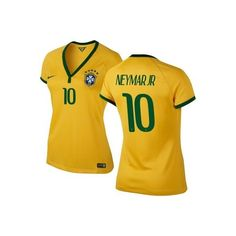 Neymar Jr #10 Brazil Nike Womens 2014 World Soccer Replica Home Jersey... ($95) ❤ liked on Polyvore featuring shirts