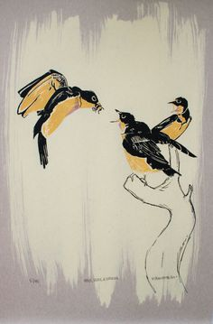 One color screen print of birds feeding on a bee with hand brushed bleach and color pencil is a play on the tale of the birds and the bees to