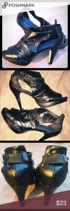 Madden Girl black leather ankle booties boots 8.5 Steve Madden Madden Girl black leather booties or ankle boots size 8.5. Stiletto style heels, and cute gun metal chains that can detach. These platform boots are in great shape. They have a few minor scratches on the heel that no one will notice. Please see my other listings for bundle savings. Madden Girl Shoes Ankle Boots & Booties