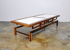 Mid-Century Danish Modern Rosewood White Marble Coffee Table...