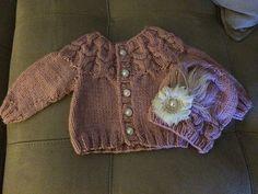 knit baby owl yoke cardigan with matching hat