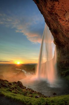 Sunset at Seljalandsfoss, Iceland
