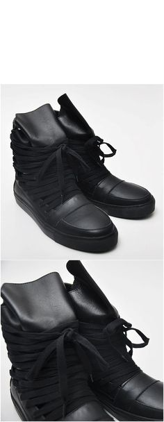 Shoes :: Street-Punk Avant-garde Long Lace High-Top Sneakers - shoes 34 - New and Stylish - Fast Mens Fashion - Mens Clothing - Product