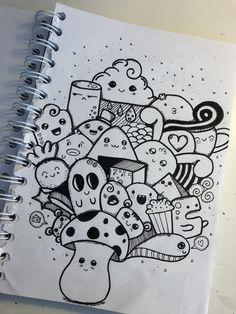 Easy Doodles Drawings, Cool Doodles, Mini Drawings, Cool Art Drawings, Art Drawings Sketches, Easy Doodles To Draw, Things To Doodle, Kawaii Doodles, Cute Doodle Art