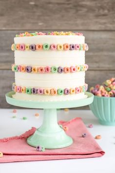 Froot Loops Cake! Vanilla cake layers infused with cereal milk. | livforcake.com