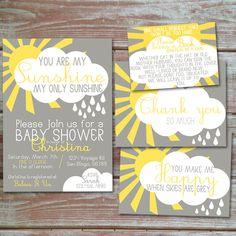 You are my sunshine baby shower invitation set by HennigDesigns on Etsy https://www.etsy.com/listing/225233303/you-are-my-sunshine-baby-shower